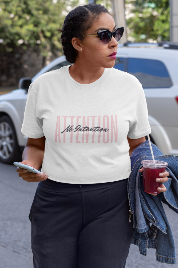 Attention No Intention Bold Unisex Jersey Short-Sleeve Crew T-Shirt White