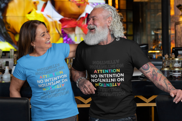 Attention No Intention Colorful Unisex Jersey Short-Sleeve Crew T-Shirt Couple Blue Black