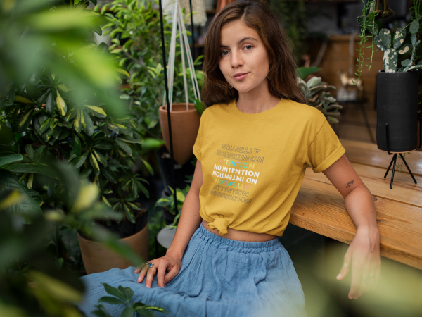 Attention No Intention Colorful Women's Favorite Tee Gold